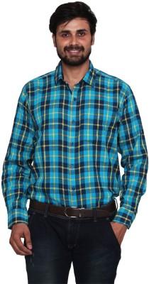 Lee Marc Men's Checkered Formal Blue Shirt
