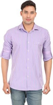 Don Vino Men's Striped Casual Purple, White, Blue Shirt