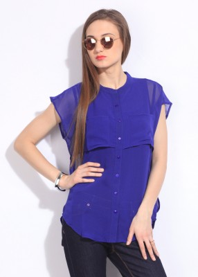 Remanika Women,s Solid Casual Blue Shirt