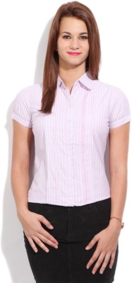 STYLE QUOTIENT BY NOI Women's Striped Formal White, Pink Shirt