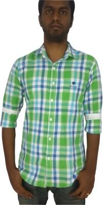 Lion,S Roar Men's Checkered Casual Green, Blue Shirt