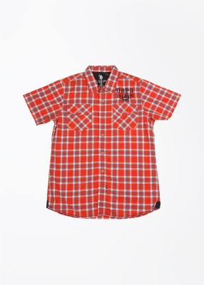 U.S. Polo Assn. Boy's Checkered Casual White, Red Shirt