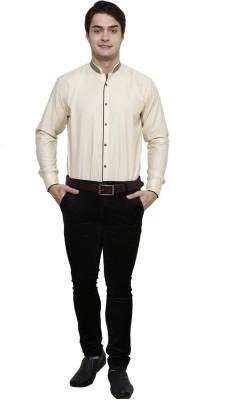 Clubstone Men's Solid Formal Beige Shirt