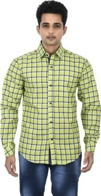 Binnote Men's Checkered Casual Green Shirt