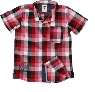 Ice Boys Boy's Checkered Casual Red Shirt