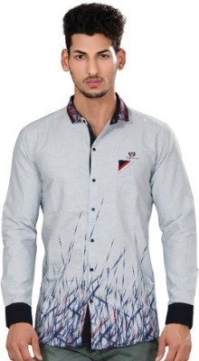 Fisheye Men's Printed Casual Light Blue Shirt