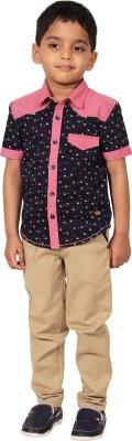 I-Voc Boy's Printed Casual Dark Blue, Pink Shirt