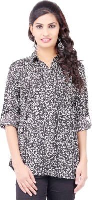 Pear Blossom Women's Floral Print Casual Black Shirt