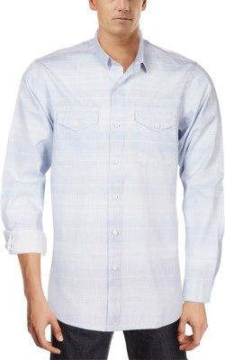 Roar and Growl Men,s Checkered Casual Blue, White Shirt