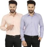 Jainish Men's Solid Formal Orange, Purpl...