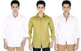 Yuva Men's Solid Casual Linen White, Bei...