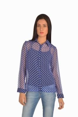 Miss Rich Women's Polka Print Casual Blue Shirt