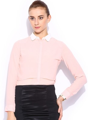 Mast & Harbour Women's Solid Casual Pink Shirt