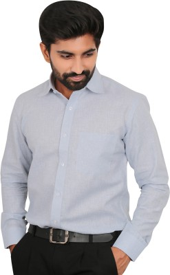 Caris Men's Solid Formal Blue Shirt