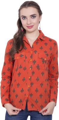 Tuntuk Women's Printed Casual Orange Shirt