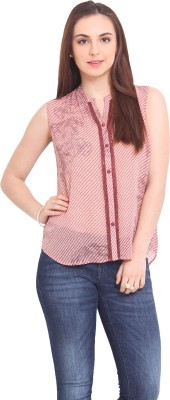 La Stella Women's Striped Casual Pink Shirt