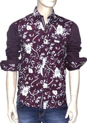 Exin fashion Men's Floral Print Casual Purple, White Shirt