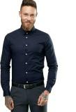 Beetle Men's Solid Formal Blue Shirt