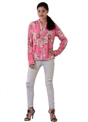 Fashnopolism Women's Floral Print Casual Pink Shirt