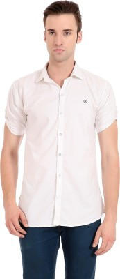 Camrick Men,s Solid Casual White Shirt