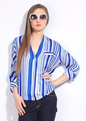 Remanika Women,s Striped Casual Blue, White Shirt