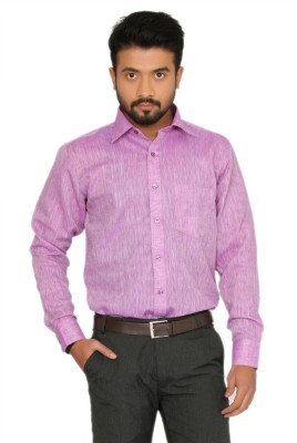 Indian Weller Men's Woven Formal Linen Purple Shirt
