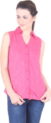 SS Women's Solid Casual Pink Shirt