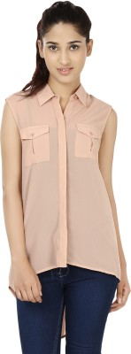 India Inc Casual Sleeveless Solid Women's Beige Top