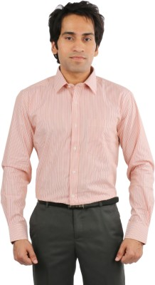 Desar Rana Men's Striped Formal Orange, Yellow Shirt