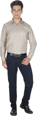 Shaurya-F Men's Solid Formal Brown Shirt