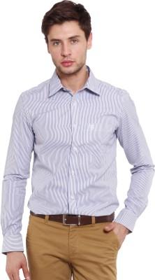 Classic Polo Men's Striped Formal Purple Shirt