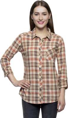 One Femme Women's Checkered Formal Multicolor Shirt