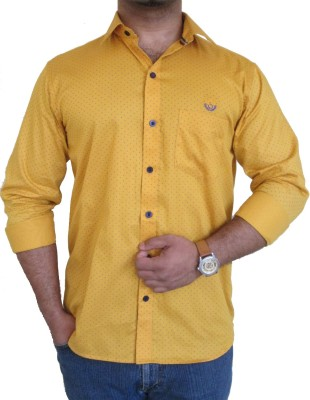 SOLEN Men's Printed Casual, Wedding, Party Yellow Shirt
