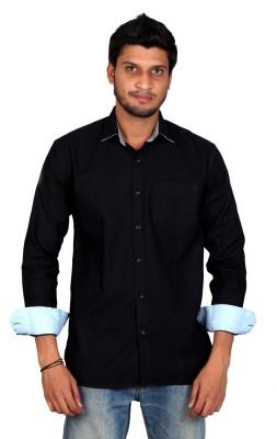 Falco Men's Solid Casual Linen Black Shirt