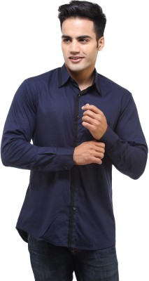 See Designs Men's Solid Casual Blue Shirt