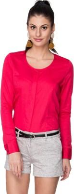 Neburu Women's Solid Casual Pink Shirt
