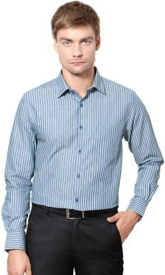Peter England Men's Striped Formal Dark Blue Shirt