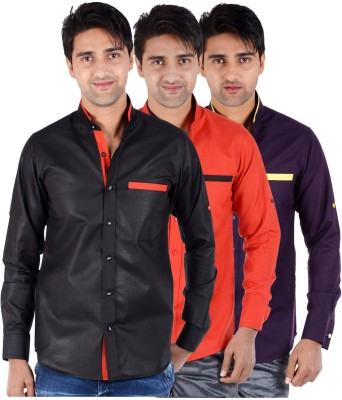 S9 Men's Solid Formal, Festive, Party Black, Red, Purple Shirt