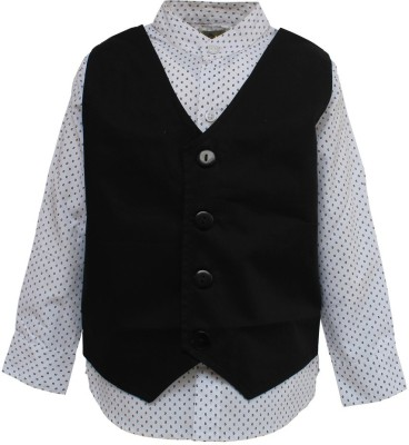 A Little Fable Boy's Printed Party Black Shirt