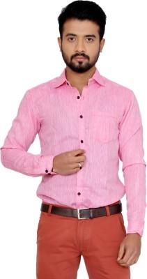 Indian Weller Men's Woven Casual Linen Pink Shirt