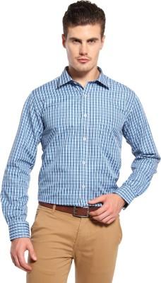 Fx Jeans Co Men's Checkered Formal Blue Shirt