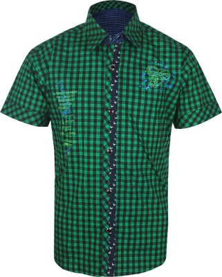 Jazzup Boy's Checkered Casual Green Shirt
