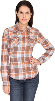 Bedazzle Women's Checkered Casual Orange, Blue Shirt