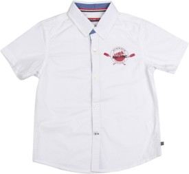 Scullers Kids Boys Solid Casual White Shirt