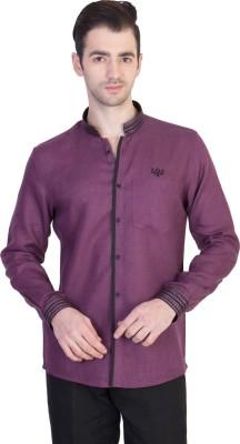 Desam Men's Solid Casual Linen Purple Shirt
