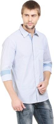 BlackRooster Men's Striped Casual Blue Shirt