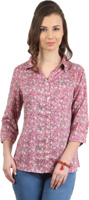 Amadeo Women's Printed Casual Pink Shirt