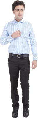 Riwas Collection Men's Striped Formal Blue, Green Shirt