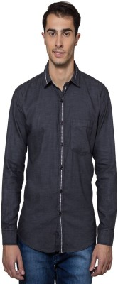 Lee Marc Men's Solid Casual Grey Shirt