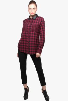 XnY Women's Striped Formal Maroon Shirt